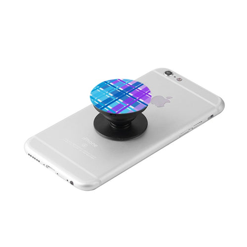 Blue & Purple Plaid Collapsible Grip & Stand for Phones and Tablets
