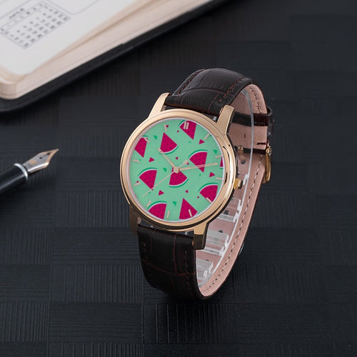 Watermelon Waterproof Watch With Leather Band