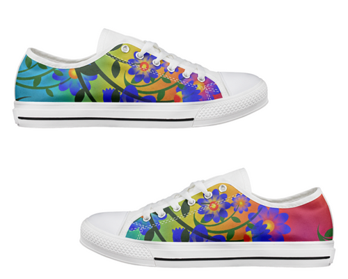 Bright Floral Low Top Canvas Shoes
