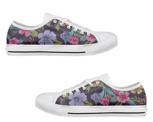 Dark Floral Low Top Shoes