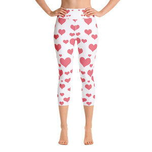 Pink Heart Yoga Capri Leggings