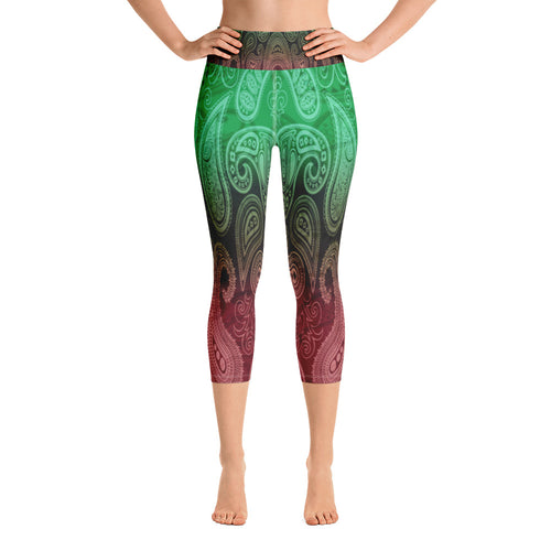 Green and Red Paisley Capri Leggings