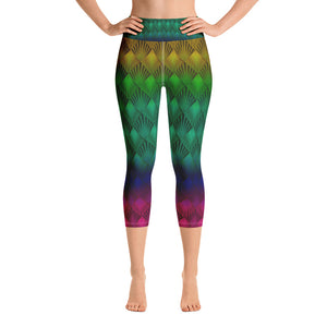 Baroque Rainbow Yoga Capri Leggings