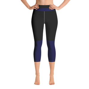 Black & Blue Yoga Capri Leggings