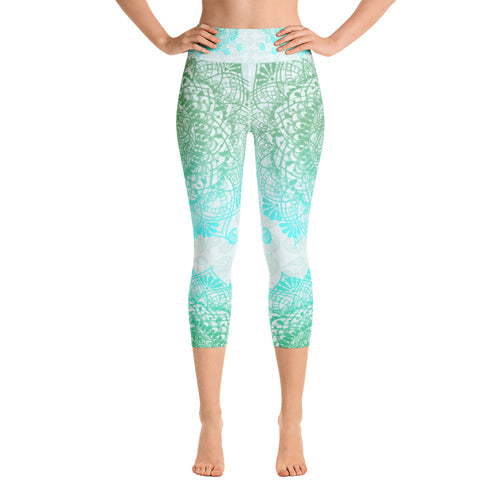 Teal Mandala Yoga Capri Leggings