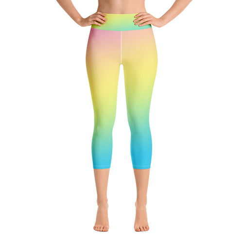 Pastel Rainbow Yoga Capri Leggings