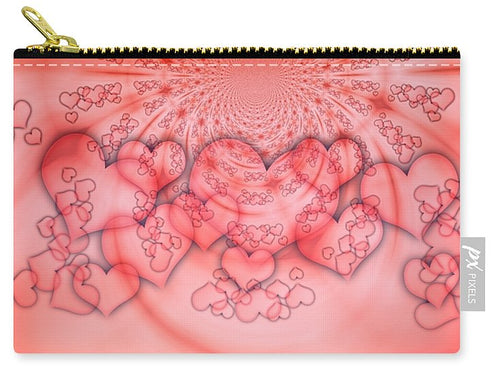 Pink 3D effect Hearts - Carry-All Pouch