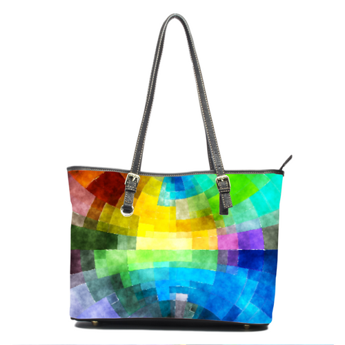 Abstract Rainbow- Leather Tote