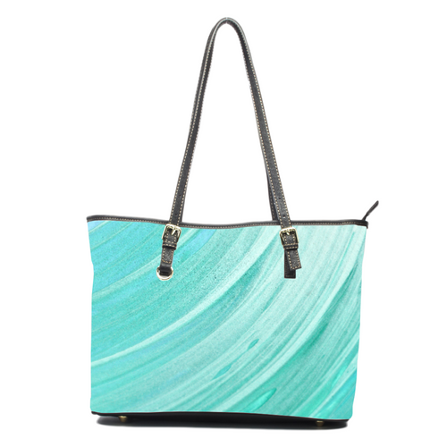 Blue Swoosh- Leather Tote