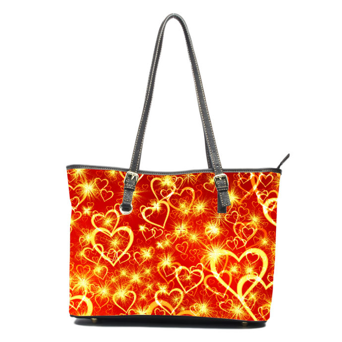 Electric Hearts- Leather Tote