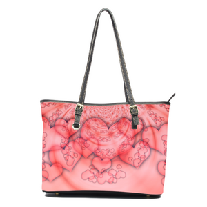 3D Look Hearts- Leather Tote