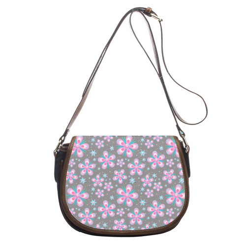 Vintage Flowers Leather Saddlebag