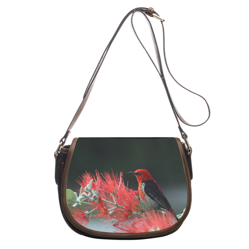 Red Bird design Leather Saddlebag