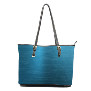 Blue Metal Leather Tote