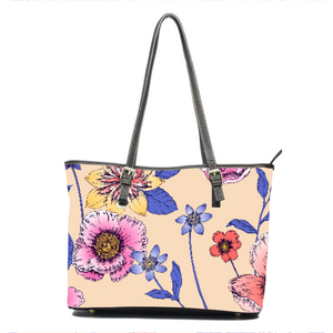 Delicate Floral Leather Tote
