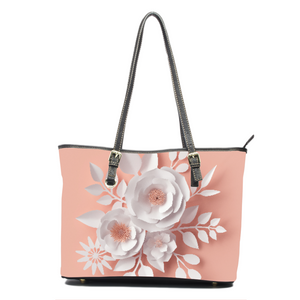 3D Effect Paper Roses Leather Tote