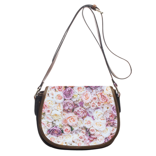 Delicate Roses Leather Saddlebags