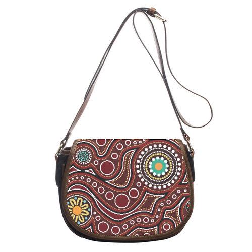 Trendy Modern Paisley Leather Saddlebag