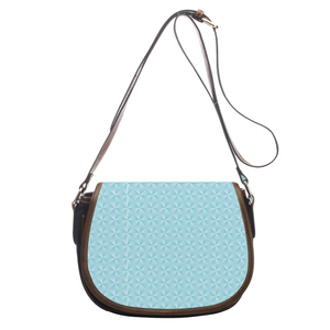 Geometric Blue Leather Saddlebag