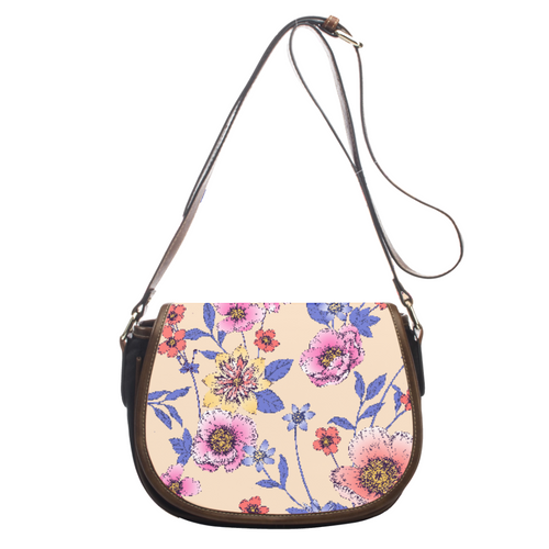 Lovely Floral Leather Saddlebag