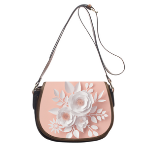 Attractive 3D Effect Paper Roses Leather Saddlebag