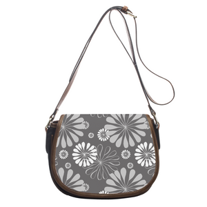 Cute Retro Gray Leather Saddlebag