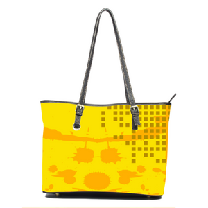 Asymetical Sunspot Leather Tote