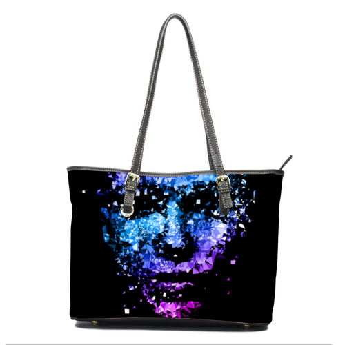 Abstract Face Leather Bag