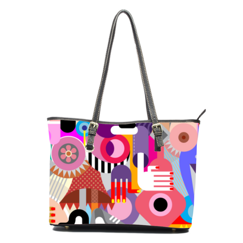 abstract Leather Tote