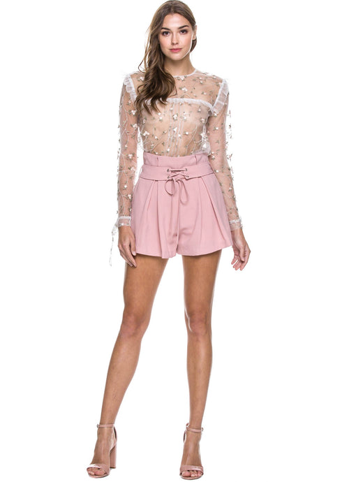 ENDLESS ROSE - EMBROIDERED MESH TOP