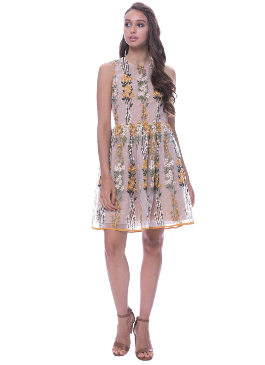 ENDLESS ROSE - FLORAL EMBROIDERED FIT AND FLARED DRESS