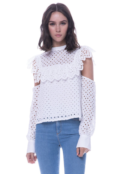 ENDLESS ROSE - Cotton Eyelette Cold Shoulder Blouse