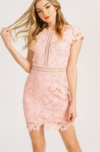 MAIN STRIP - Crochet lace Cap sleeve Dress