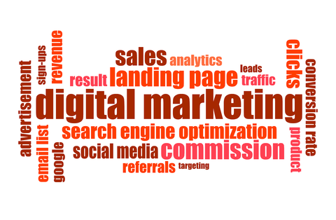 An illustration of digital marketing tools written on a white background.