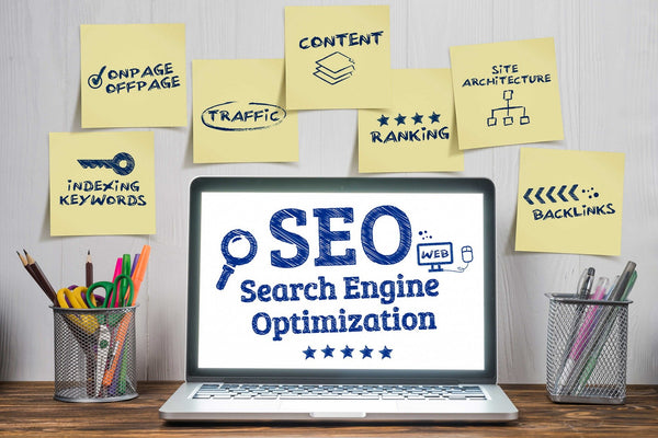 Image of a laptop, sticky notes with essential elements of SEO