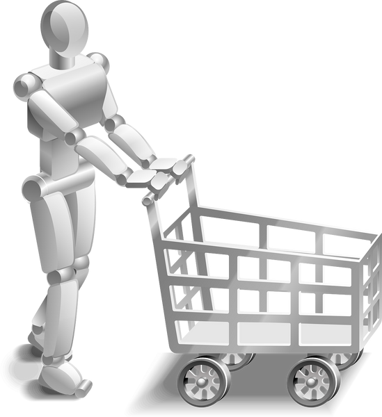Image of a robot with a shopping cart
