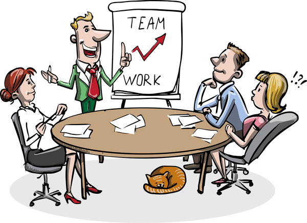 A cartoon image of a business meeting