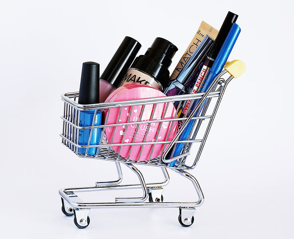 A cart with cosmetic products