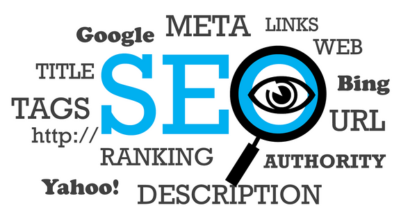 A white page with essential SEO elements written in blue and black color