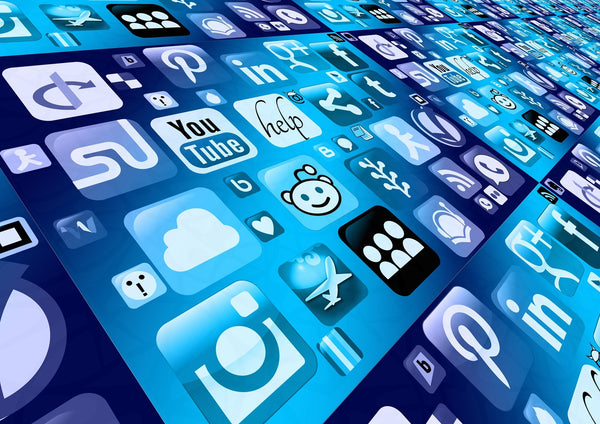 A screen with a blue layout containing an array of social media apps like Facebook, Pinterest, Twitter, etc.