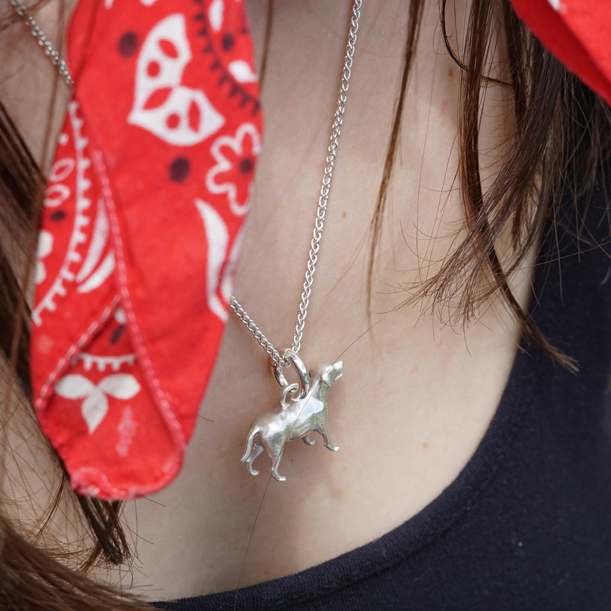 Model with dog charm