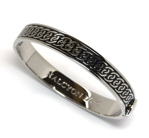 Halcyon Days Bangle - 10mm - 'Byzantine' - Black/Palladium