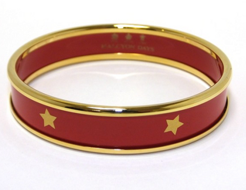 Halcyon Days Bangle - 'Gold Star' - Red