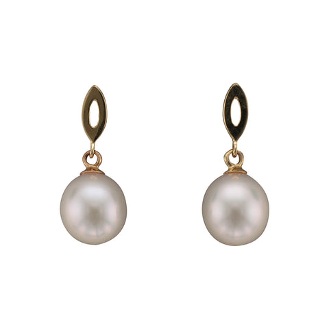 9ct Yellow Gold Cultured Pearl Drop Earrings