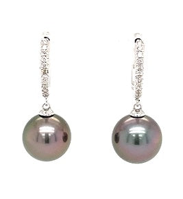 18ct White Gold Diamond & Tahitian Pearl Earrings