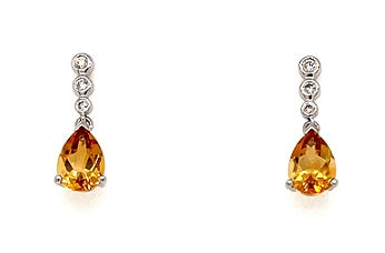 18ct White Gold Citrine Drop Earrings