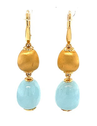 18ct Yellow Gold Milky Aquamarine Earrings