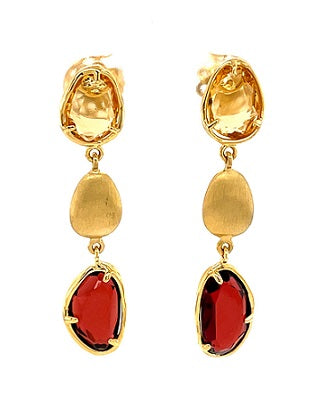 18ct Yellow Gold Citrine & Garnet Earrings