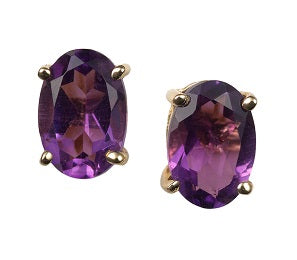 18ct Yellow Gold Amethyst Earrings