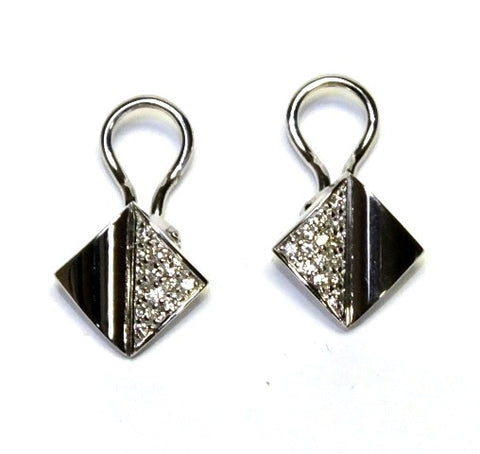 18ct White Gold Diamond Mounted Earrings